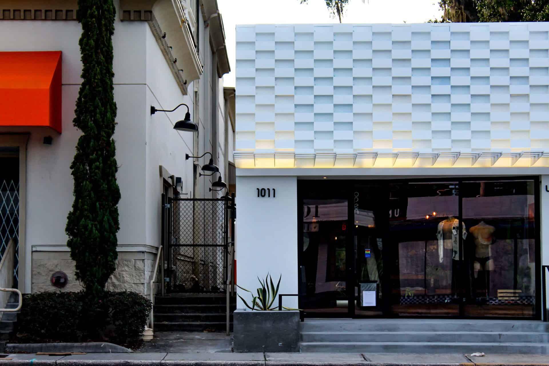 custom white facade made from acm cladding
